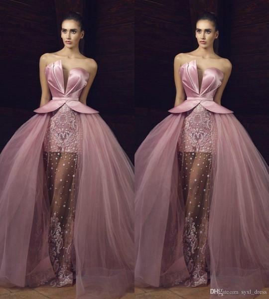 Compre Hermosos Vestidos De Fiesta Largos 2019 Con Falda Desmontable Vestidos De Noche Formales Ropa De Fiesta Batas De Perlas Perlas A 15468 Del