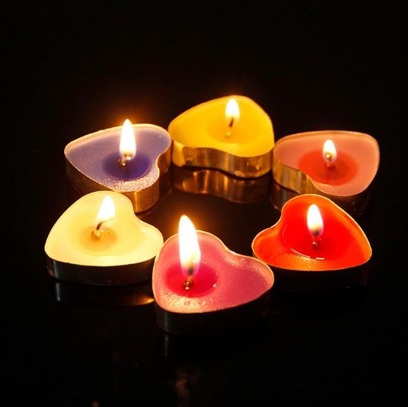 Wholesale Ghee Craft Candle Arrangement Picture Smokeless Profession Paraffin Proposal Heart-Shaped Tea Small Wax
