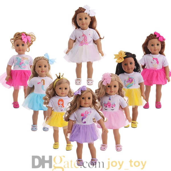Unicorn Mermaid One Piece Dress with Hair Band Sets Outfit Suit for 18 inch Doll Cloth American Girl Doll Cloth