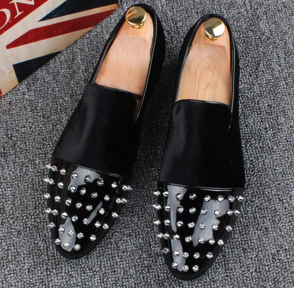 fashion trend Men's Designer rivets dress Shoes Loafers Platform Casual Flats Shoes Male Homecoming Dress Prom shoes LF4