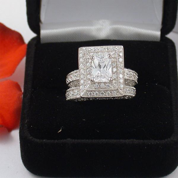 Key4fashion Nouvelle arrivée Pavé De Luxe Bijoux Princesse taillé Simulé Diamant Topaze 14kt or blanc rempli De Mariage De Mariée femmes Bague ensemble cadeau