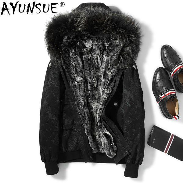 AYUNSUE Real Rex Rabbit Fur Coat Men Parka Winter Jacket Men Raccoon Fur Collar Hooded Men's Coat Warm Luxury Parkas KJ1536