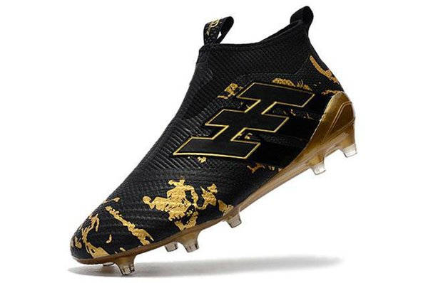 Ace 17+ Purecontrol Primeknit outtdoor Soccer Cleats Firm Ground Cleats Trainers FG NSG Mens Football Boots Soccer Shoes Gold Black-asd54sa5
