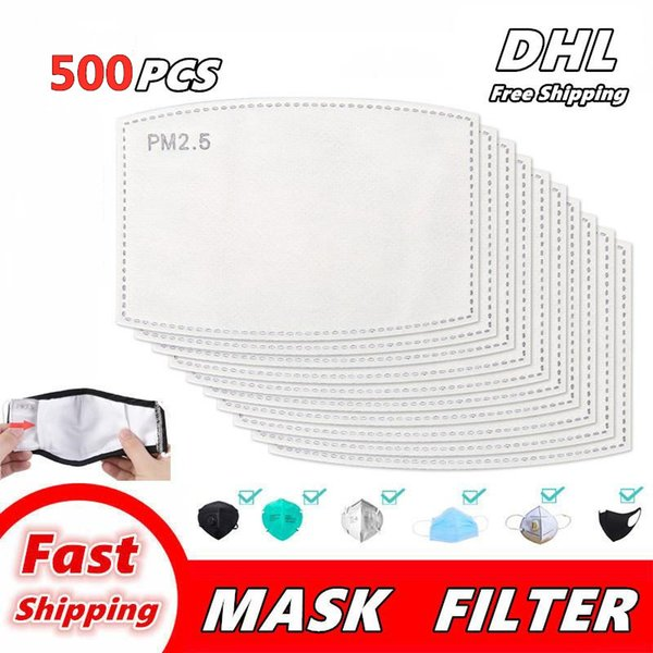 top popular Mask Pad Filter gasket Breathable Activated Carbon PM 2.5 Mask Filter Paper Pad for Anti Haze Dust Cover Outdoor Work Super Free DHL 2021