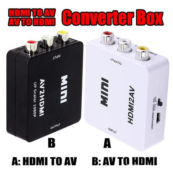 HDMI2AV AV2HDMI 1080P HD видеоадаптер мини RCA в HDMI конвертер CVBS + L / R HDMI2RCA для Xbox 360 PS3 PC360 с розничной упаковкой