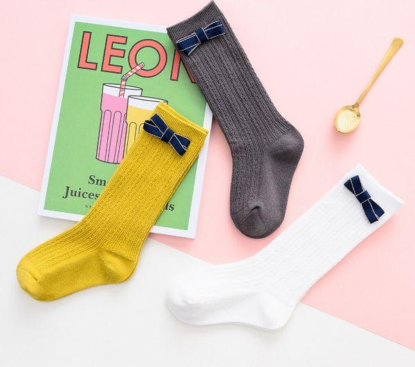 Ragazze Archi principessa calze lunghe stile preppy bambini twist lavorato a maglia ginocchio alta calza per bambini cotone traspirante calza piede bambino gambe F5332