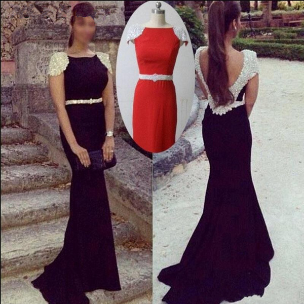Elegant Party Mermaid Evening Dresses 2019 Cap Sleeves Pearls Black Jersey Long Backless Red Carpet Celebrity Formal Prom Gowns