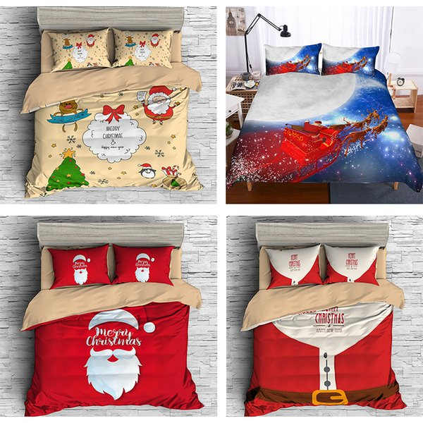 Christmas Comforter.Christmas Bedding Sets 3d Cartoon Bedclothes Queen Twin King Size Kids Comforter Sets Duvet Cover Pillowcases Santa Claus Xmas Decor Gifts Bedding For
