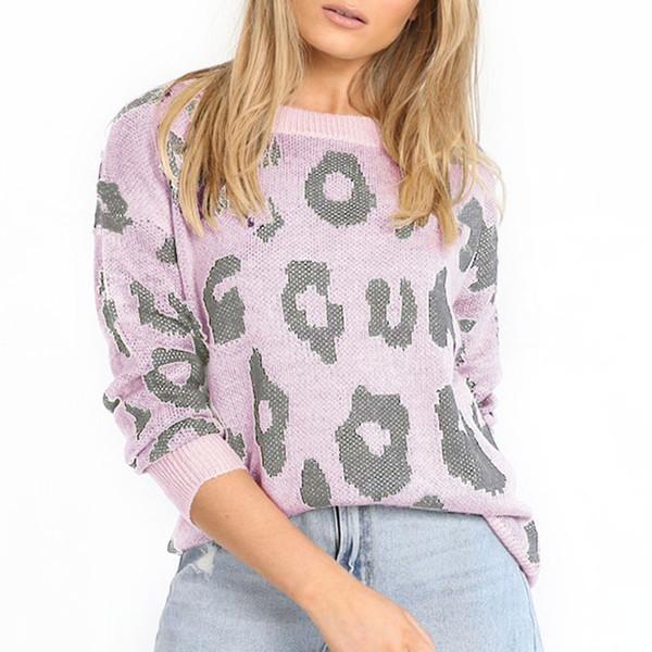 Suéter con estampado de leopardo para mujer Top holgado de manga larga Jersey de punto GDD99