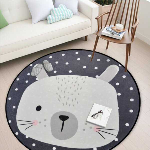 White Grey Cartoon Animals Bear Fox Panda Round Carpet for Living Room Bedroom Home Rug Decor Children Kids Soft Play Mat