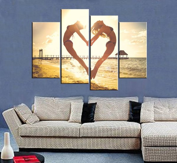Wall Art Painting Picture HD Print Seaside Sun Jump Heart Unframed Canvas For Home Decoration