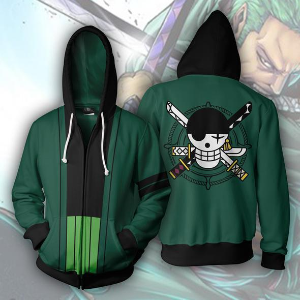 Anime Hoodies TEK PARÇA Roronoa Zoro Erkekler için 3d Baskılı Kapüşonlu Hoodies Tişörtü Bahar Antumn Fermuar Ceketler Hırka Tops