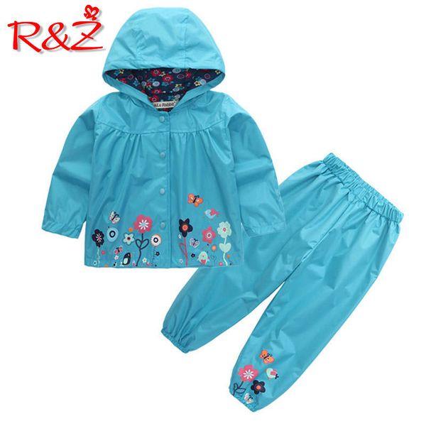 R&z 2018 Children's Fashion Hoodie Pants 2 Piece Jacket Sports Suit Flower Print Girl Windbreaker Raincoat Camping Clothes Y190522