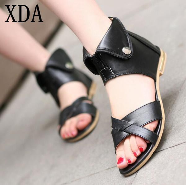 XDA 2019 Genuine Leather Gladiator fashion Sandals Summer Ladies Dress Shoes Metal Open Toe zipper Flat Sandals Size 35-43 E138