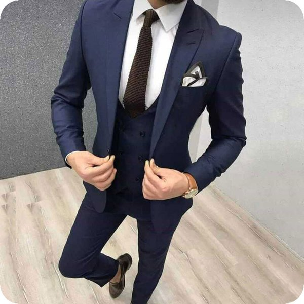 Navy Blue Men Suits Pants Prom Suits Black Groom Wedding Tuxedo Slim Fit Terno Masculino Peaked Lapel 3Piece Costume Mariage Homme