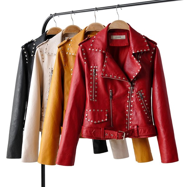 2019 women short coat Faux leather jackets soft high quality female casual clothes Red yellow black Rivet XL drop ship belt