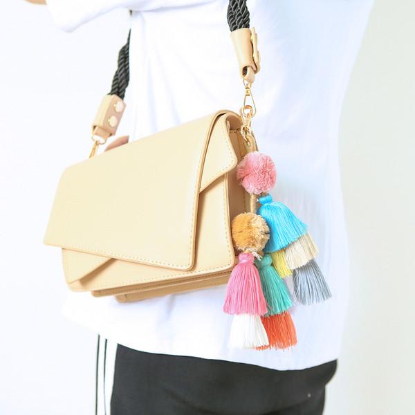 Handmade kreative Anhänger Persönlichkeit böhmischen Stil Quaste Zubehör Tasche Anhänger Schlüsselbund 2019 Mode weiblichen Schmuck
