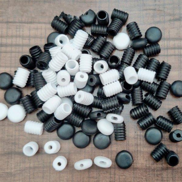 top popular Cord Lock White Black Soft Plastic Silicone Round Elastic Mask Adjustment Buckle Adult Children Elastic Adjustment Accessories 2021