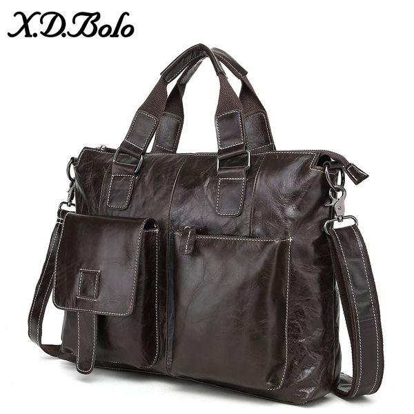 X.D.BOLO Leather Briefcase Bag Men Business Male Messenger Bags Mens Shoulder Bags 14 Laptop Briefcases Man Tote Handbags