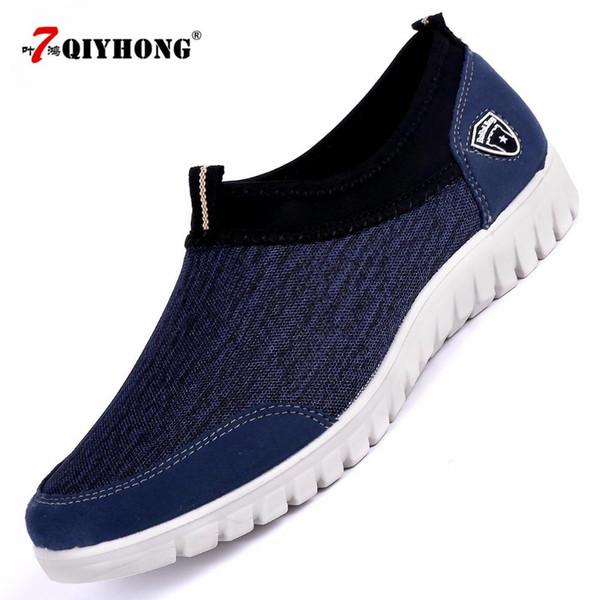 Masculino sapatos casuais QIYHONG Sneakers Verão Malha Homens Confortável respirável Calçados Loafers calçados Slipon Andando Big Size