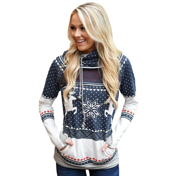 Nice Natal Mulheres Zipper Dots Imprimir Tops Com Capuz Camisola de Pulôver de Luxo das senhoras de Natal dot zipper com capuz de mangas compridas
