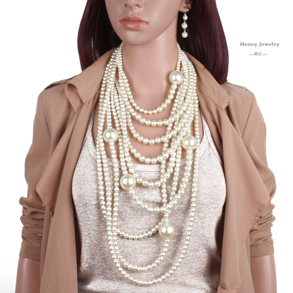 top popular Beautiful Elegant Woman High Quality Man-made Pearl Long Necklace Multi-layer Necklace Female Accessories For Bride Fashion FreeShipping 2021