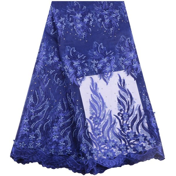 2019 Hot Sale African Lace Fabrics With Beads French Lace Fabrics High Quality Nigerian Lace Fabrics For Wedding Dress A1548
