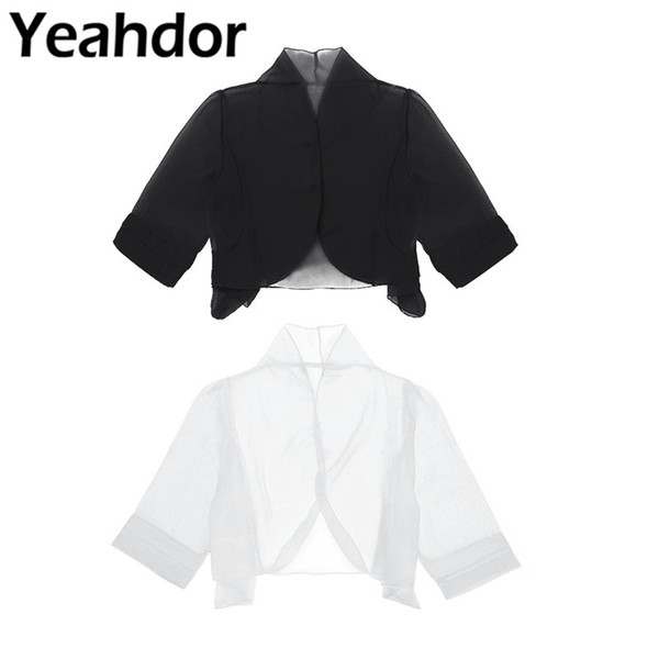 Women Lady Half Sleeve Sheer Soft Chiffon Open Front Jacket Cardigan Bolero Shrug Summer Dress Coat Women Summer Shawl Cover-up