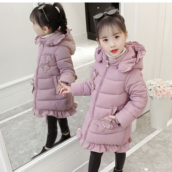 Pink Hooded Ruffles Girls Winter Jackets And Coats Kids Fashion 2019 Cotton Long Warm Parkas Clothing Children Outerwear Padded