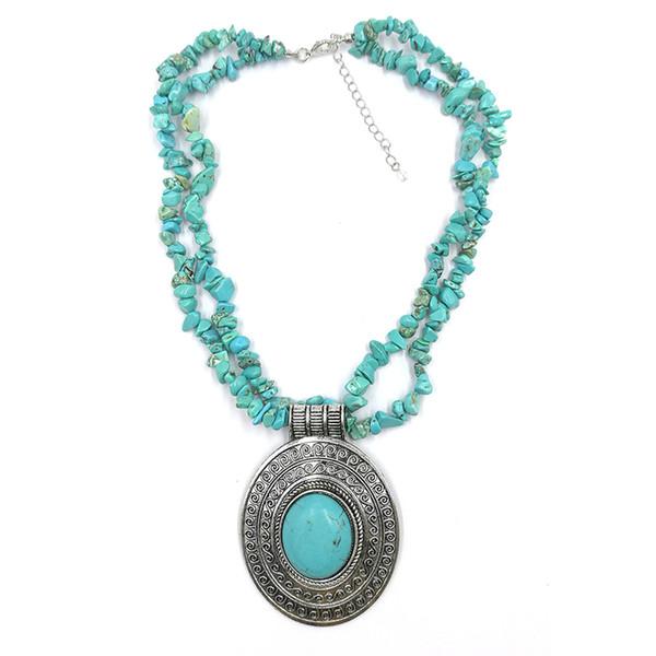 Овальный Кулон Натуральный Камень Бирюза Ожерелье Для Женщин Старинные Антикварные Посеребренные Уникальный Дизайн Ювелирных Изделий