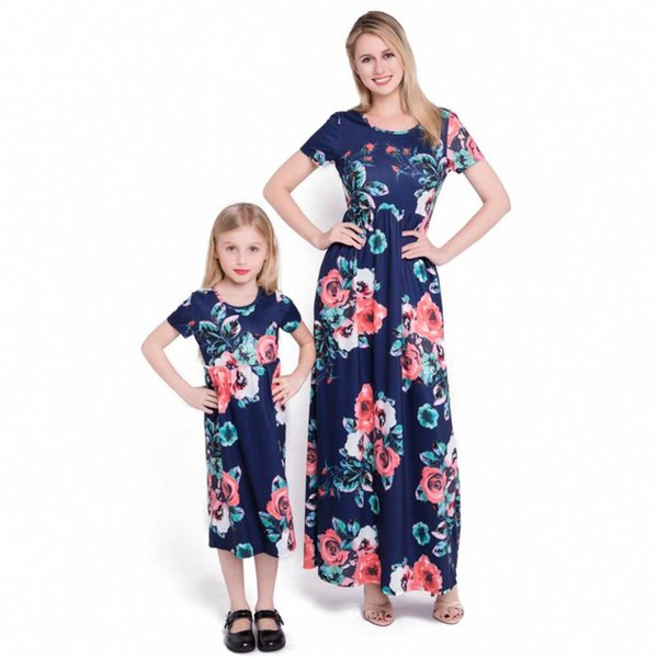 Summer Mommy And Me Clothes Matching Outfits Pajamas Family Look Mother Daughter Dresses Maxi Vestidos Mom Girls Dresses Long