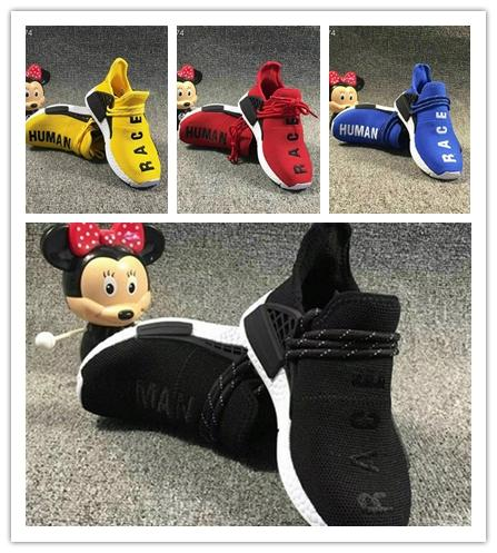 2019 Big Kids Sports Shoes for Kid Human Race Trainers Boys Pharrell Williams Pour Enfants Chaussures Children Sport Shoe Youth Sneakers