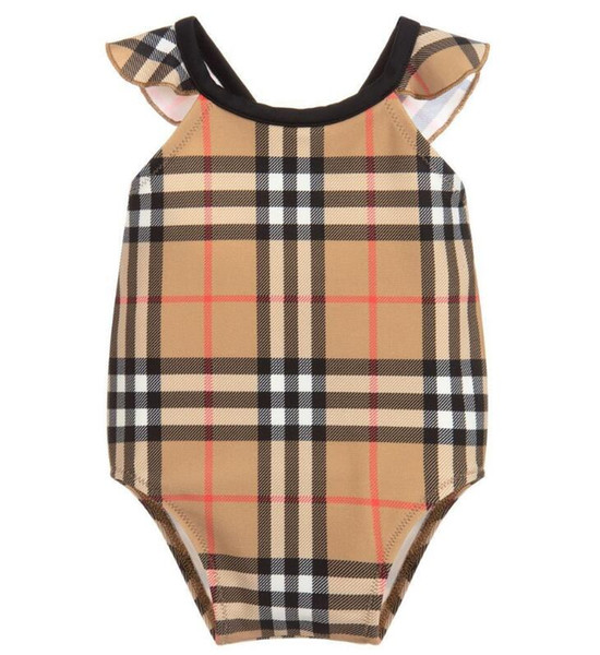 best selling kids girl clothes best selling high end one -piece swim baby girls jumpsuits Classic lattice swimwear girl swimsuit kids beach clothing