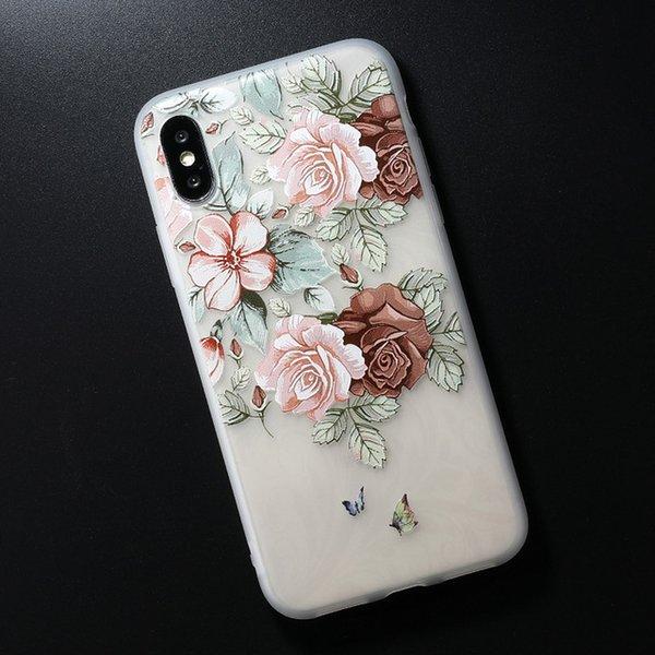 Relief TPU cas pour iphone 7 8 plus cas ultra-mince Scrub fleur silicone cas de téléphone pour iphone X Xs max XR 6 6S Plus
