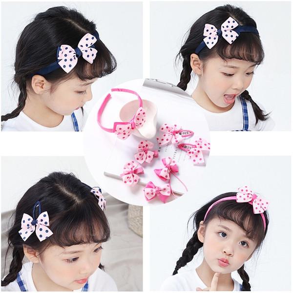 7pcs/набор детей оголовье аксессуары для волос край клип точка полоса бантом обруч волос лента для волос для девочки заколки для волос детские головной убор A750033