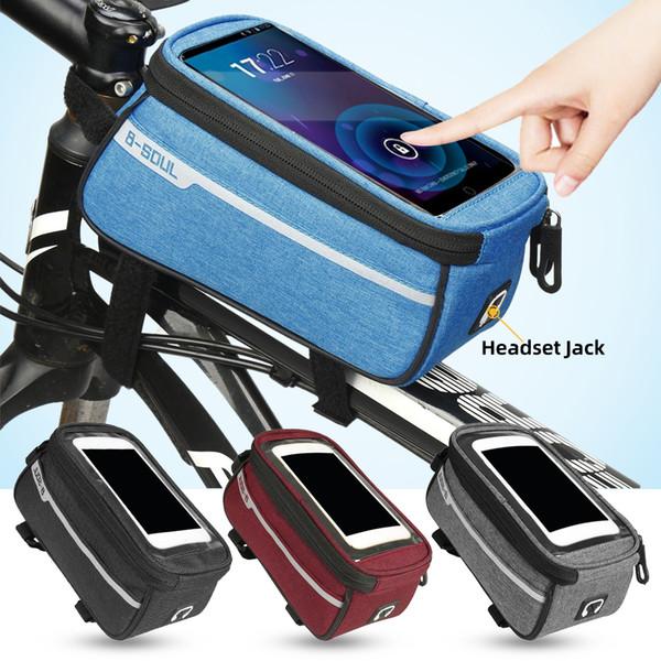 Bag Bicicleta Phone Holder Frente armação de tubo impermeável Bolsas frontais celular Mobile Phone Caso 6inch Acessórios da bicicleta