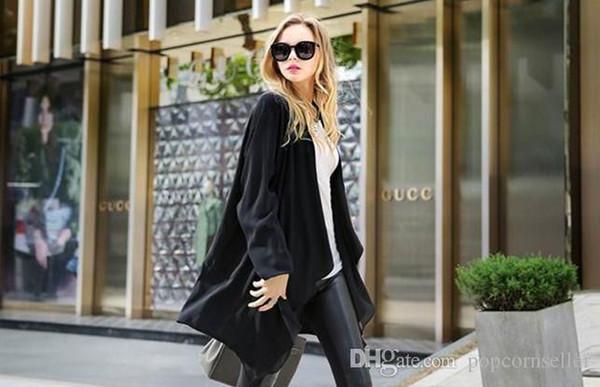 Damen Strickjacke Designer Patchwork Trenchcoats V-Ausschnitt Langarm Oberbekleidung Lässig Vielseitig Lange Regular Coats