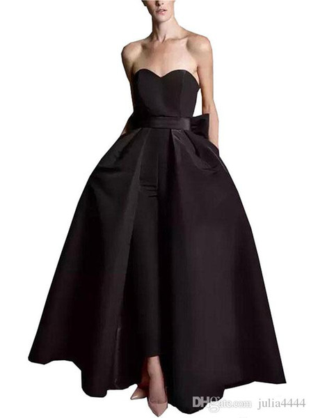 Hot Sell Women Jumpsuit Evening Dresses Plus Size 2019 Satin Bow Strapless Prom Dress Detachable Skirt Pantsuit Formal Party Gowns Open Back