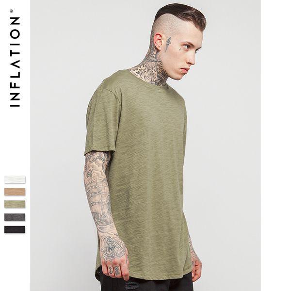 Инфляция мужская твердые расширенный удлиненный равнина футболка бамбук хлопок топ Tee Hight Street Dress футболка 0118s17 C19040302