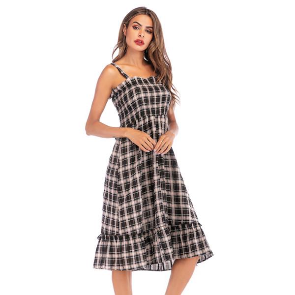 2019 Damenmode Kleid Damen Retro Stil Hohe Taille Lange Kleider Rüschen Hosenträger Rock Frauen Sommer Strandkleid