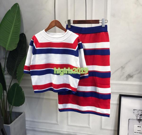 femmes haut de gamme filles tricot robe ensemble t-shirt rayé blouse manches shirt court motif pull jupe moulante midi milan costume design de mode