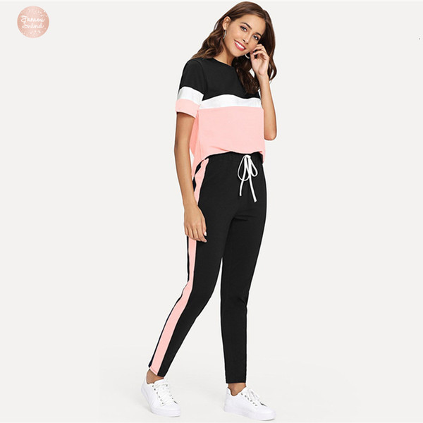 Color Tape Tee And Drawstring Block Pants Set Streetwear Short Sleeve Women Tracksuit 2019 Spring Casual 2 Piece Set