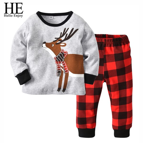 wholesale Children Clothing Christmas Outfits Red Long Sleeve Print Deer+Plaid Pant Toddler Boys 2 Piece Pajamas Sets