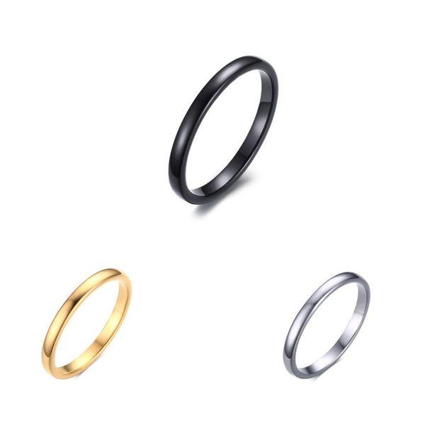 Vente chaude Titane En Acier Inoxydable Compact et simple dames anneau 2MM lumière en acier au tungstène anneau noir Mariage Lover Anneaux Bague Femme