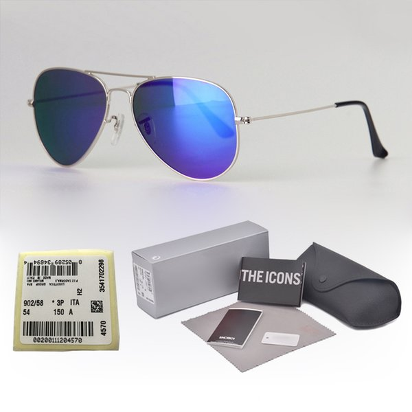 Top quality (Glass lens) Brand Designer Classic sunglasses men women metal frame Sport Vintage sun glasses With cases and label