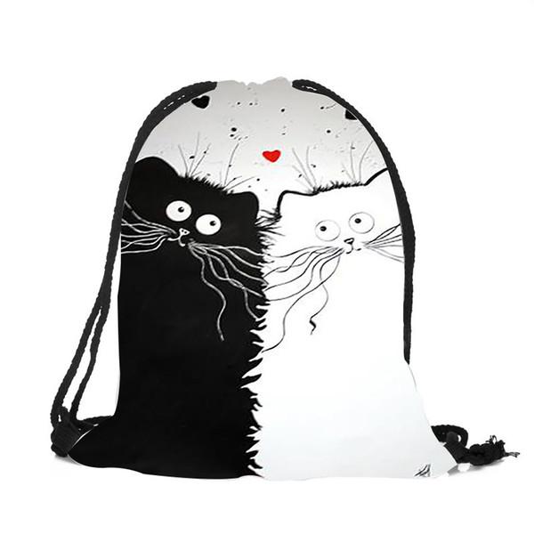 Basit Unisex Dayanıklı İpli Sırt Çantası Sevimli Siyah Beyaz Kedi Baskı Omuz Çantası Bayanlar Kızlar Seyahat Alışveriş Dize Çanta