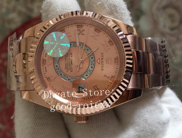 Luxo Mens Rose Gold Automático 2813 Céu Habitante Relógio Homens Calendário Anual Dupla Fuso Horário 326938 Sapphire Dobrável Fivela de Mergulho Oyster Relógios
