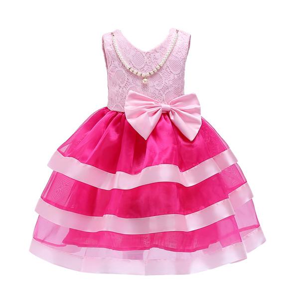 Princesa Menina Vestidos Big Bow Evening Meninas Roupas com Colar De Pérolas Da Criança Crianças vestido de Formatura Vestido De Aniversário Em Tutu Em Camadas