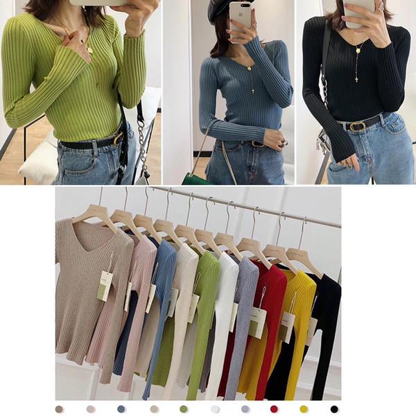 10 colori delle ragazze delle donne bel maglione a Pinkycolor Gentle più elastica e flessibile a maglia Camicette Camicie sexy di inverno di montaggio Figura-mostrando magliette casual