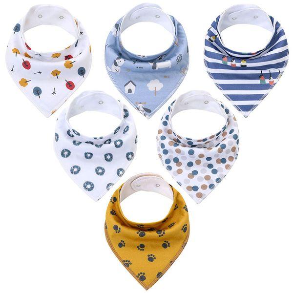 Baby Bandana Bibs Soft Cotton Triangle Cartoon Child Newborn Burp Cloths Printed Saliva Towels Fashion Feeding Scarves OOA7619-2